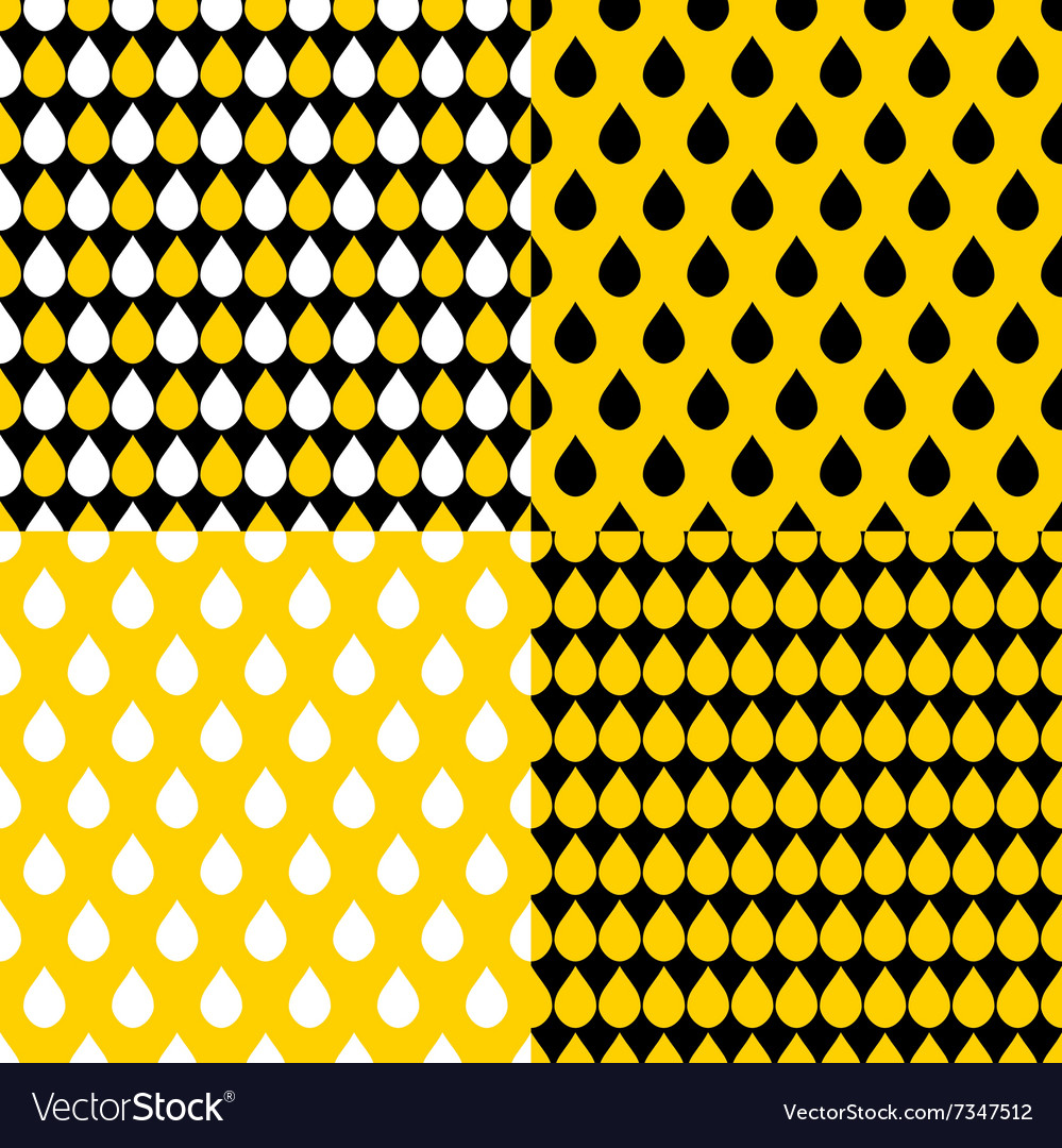 Set Yellow Black Water Drops Background vector image