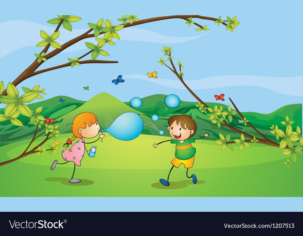 Kids playing blowing bubbles vector image