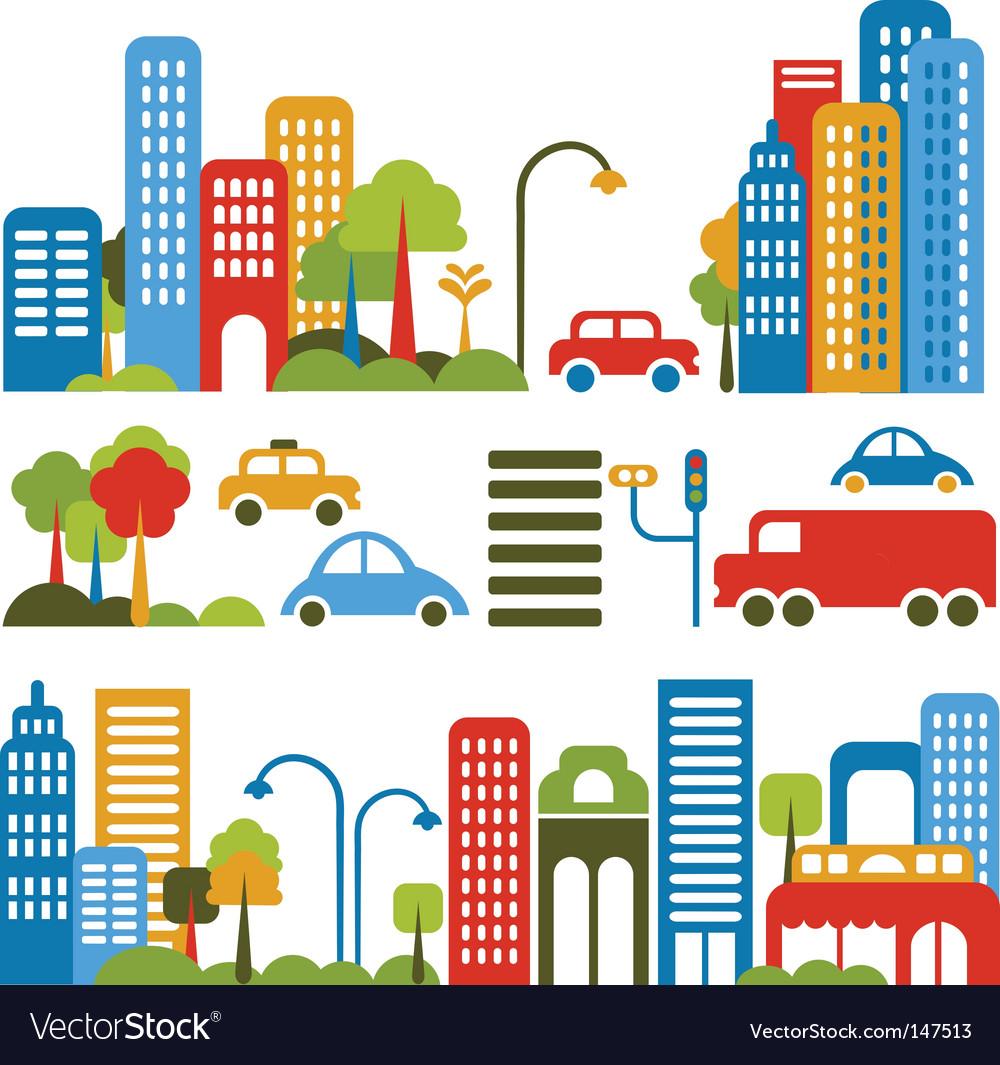 Cute city design elements vector image