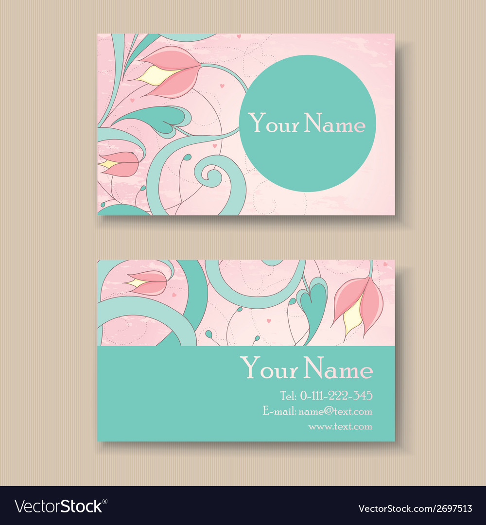 Business card pink vector image