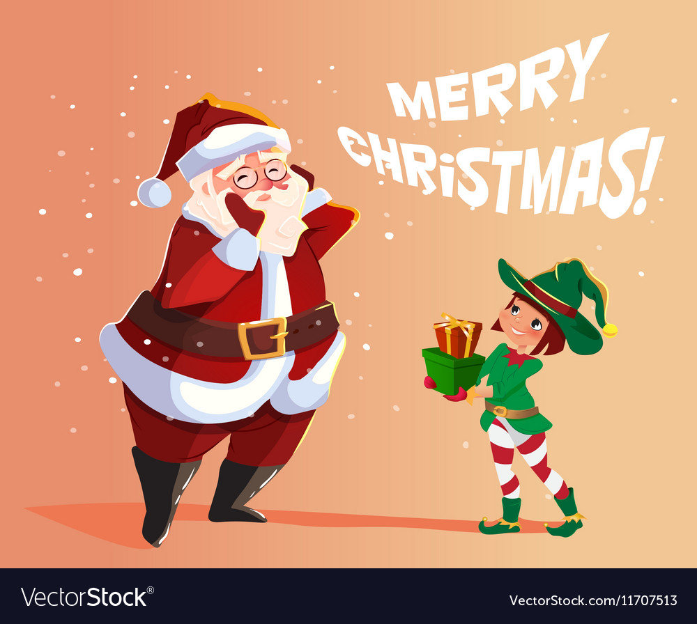 Elf Santa s assistant with gifts vector image
