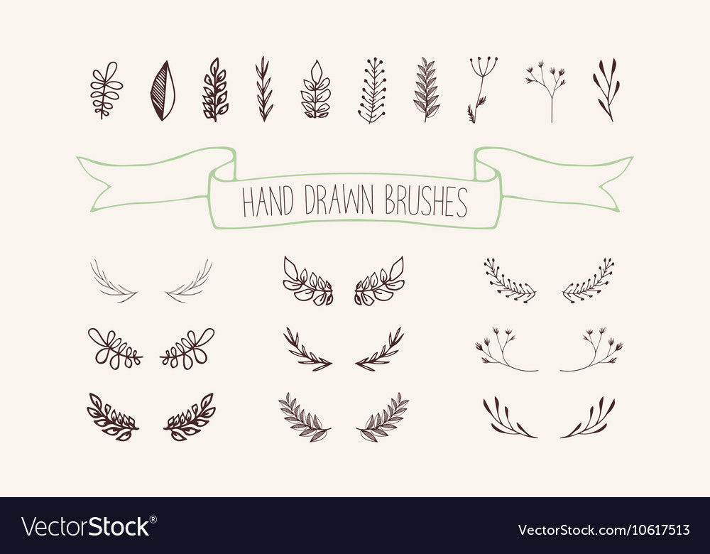 Set hand drawn wreaths Floral design elements vector image