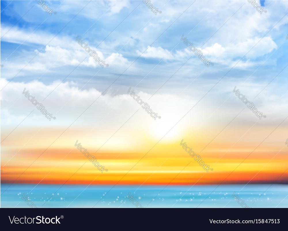 Sunset sky background with transparent clouds and vector image