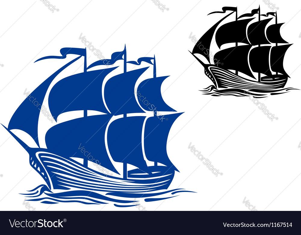 Brigantine sail ship vector image