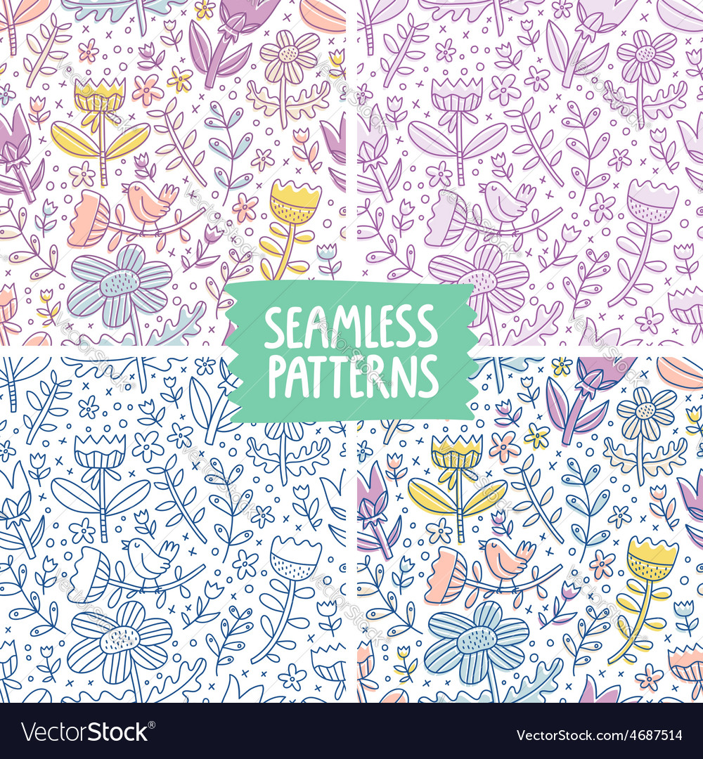 Collection of 4 floral colorful repeat patterns vector image