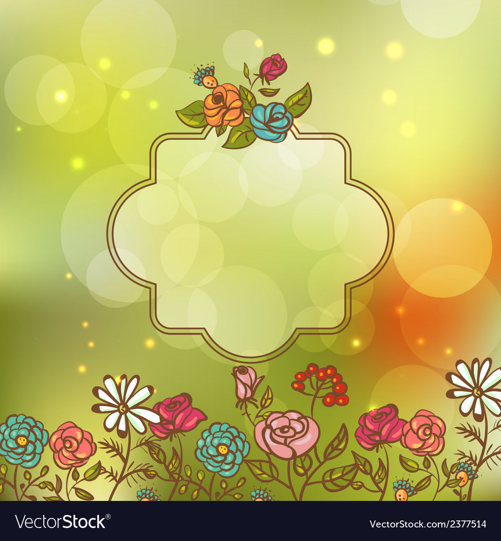 Flower invitation card floral frame with ribbon vector image stopboris Image collections