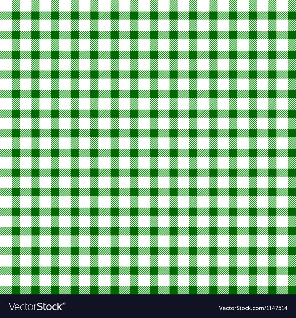 Seamless retro white-green square tablecloth vector image