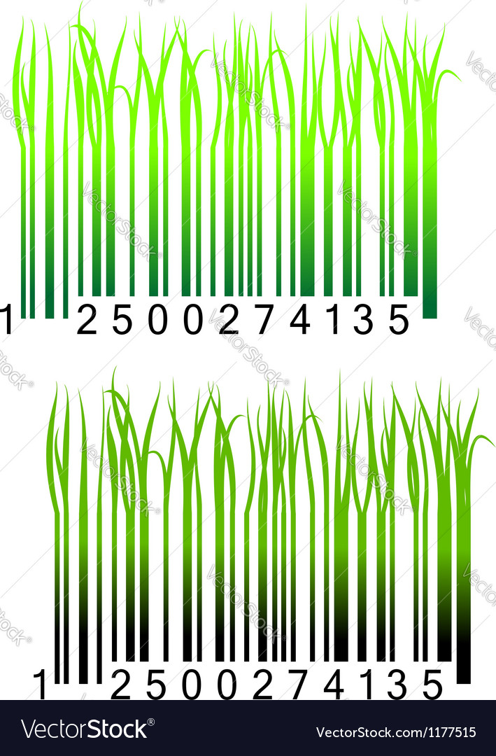 Bar code with fresh green grass vector image