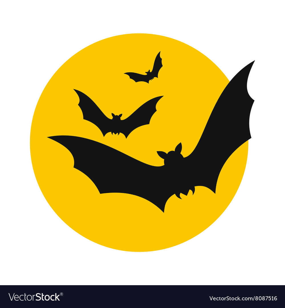 Bats fly to the moon icon vector image