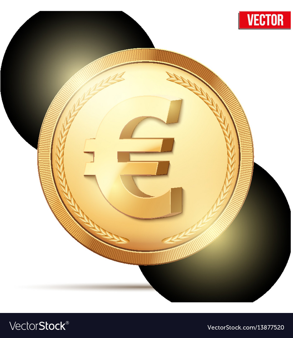 Gold coin with euro sign vector image