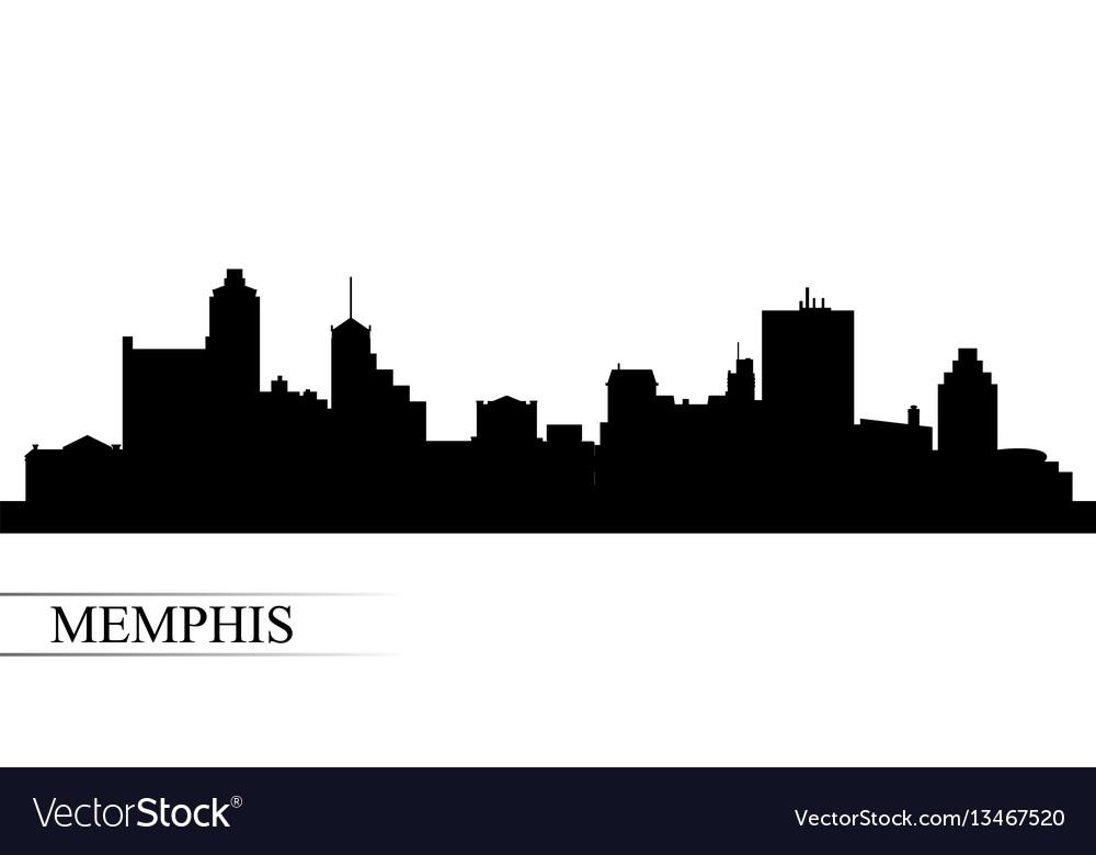 Memphis city skyline silhouette background vector image