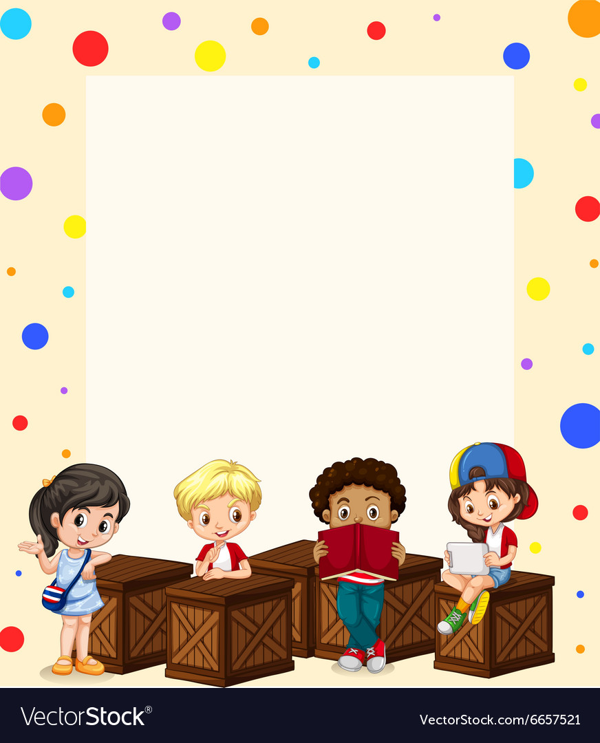 border design with children reading royalty free vector