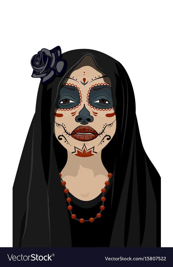 Mexican girl in tattoo style with traditional make vector image