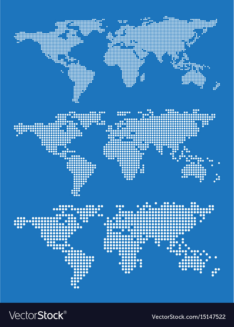 Set of world map outlines on a blue background vector image gumiabroncs Images