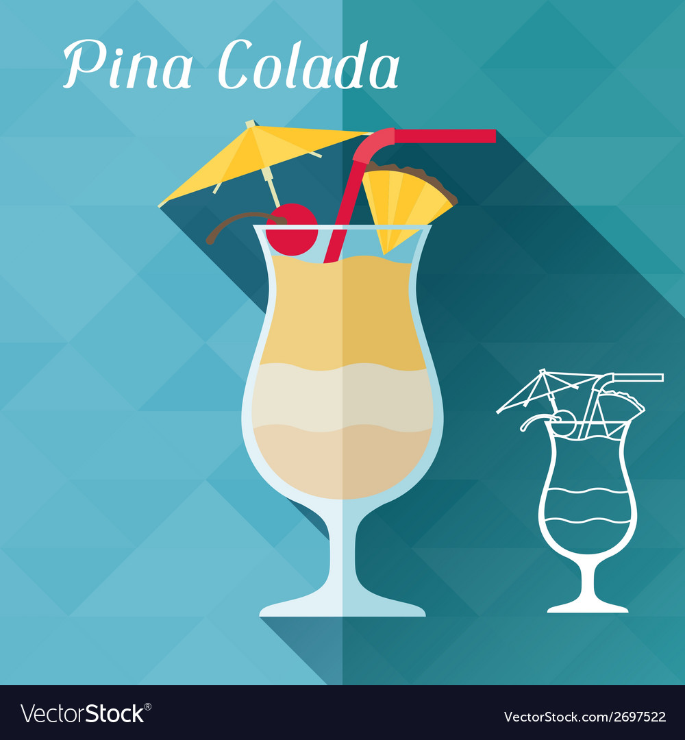 Pina Design with glass of pina colada in flat design style vector image