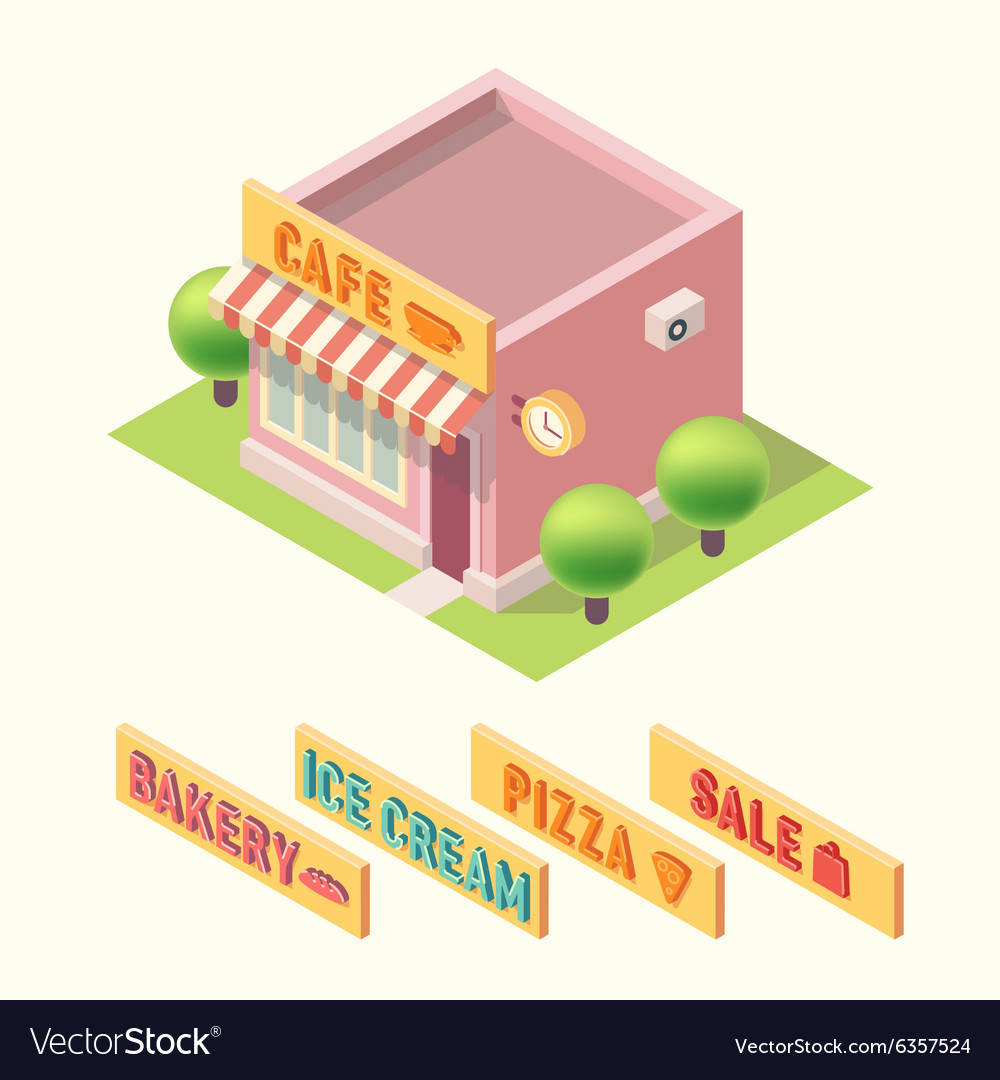 Flat 3d isometric cafe bakery ice cream pizza sale vector image