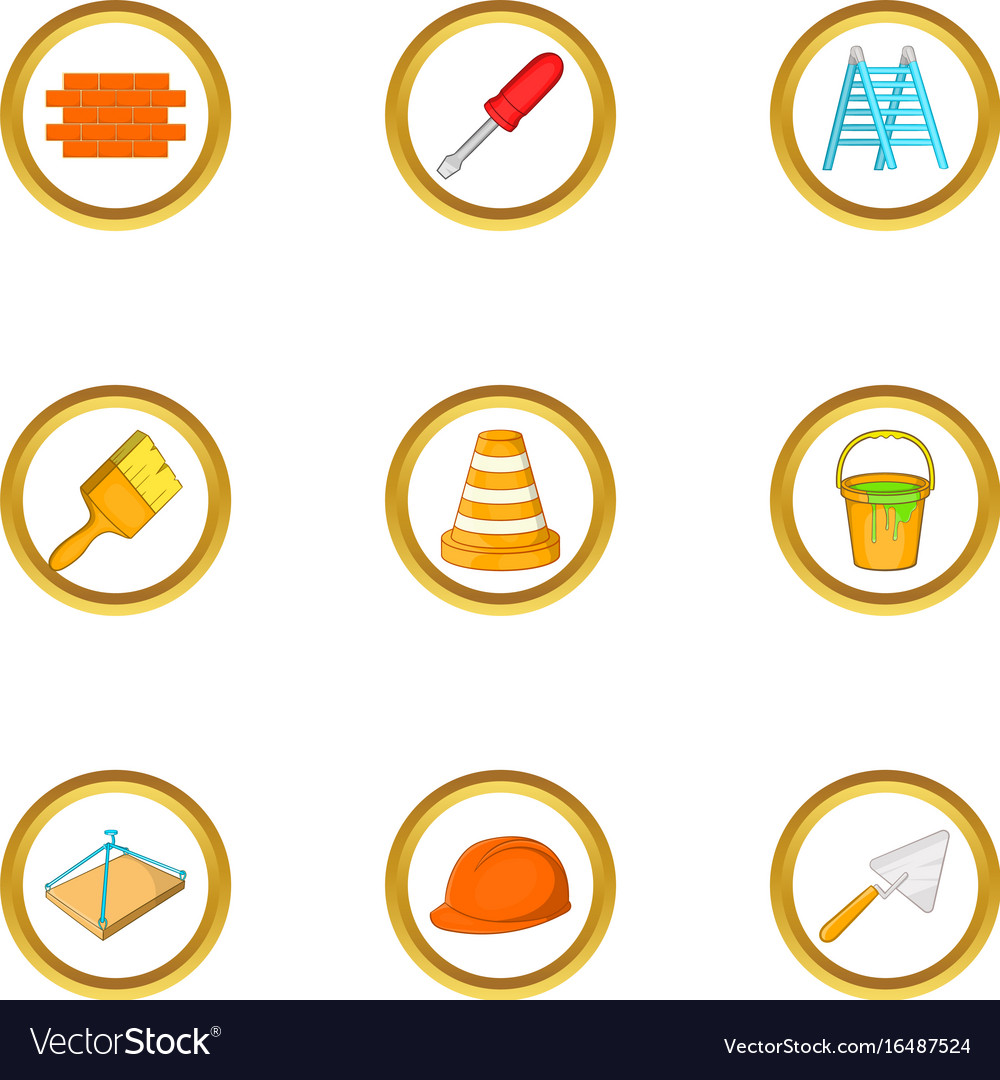 House remodeling icons set cartoon style vector image