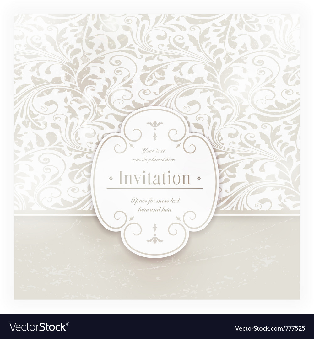 Grungy floral card with label vector image