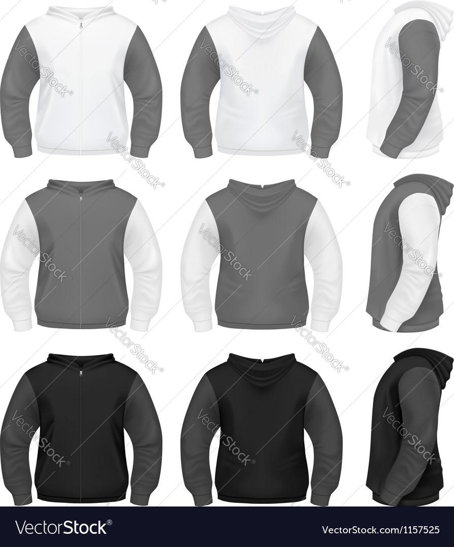 Realistic Men Hoodie with Zipper vector image