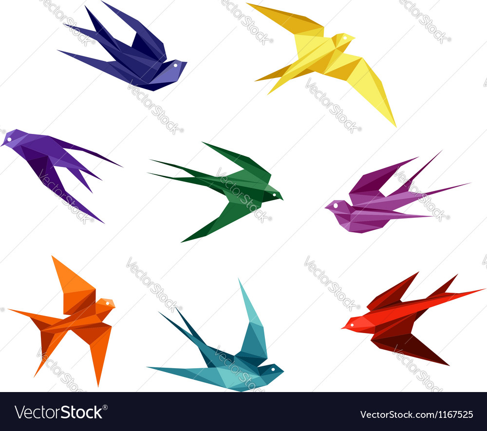 Swallows in origami style vector image