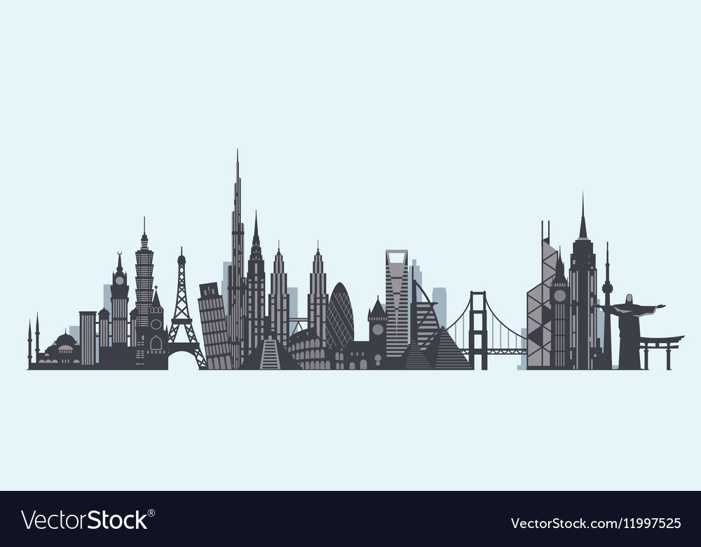 World landmarks silhouette Travel and tourism vector image