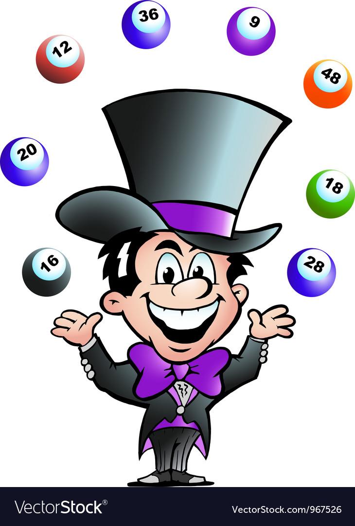 Hand-drawn of an Juggling Bingo Man Vector Image