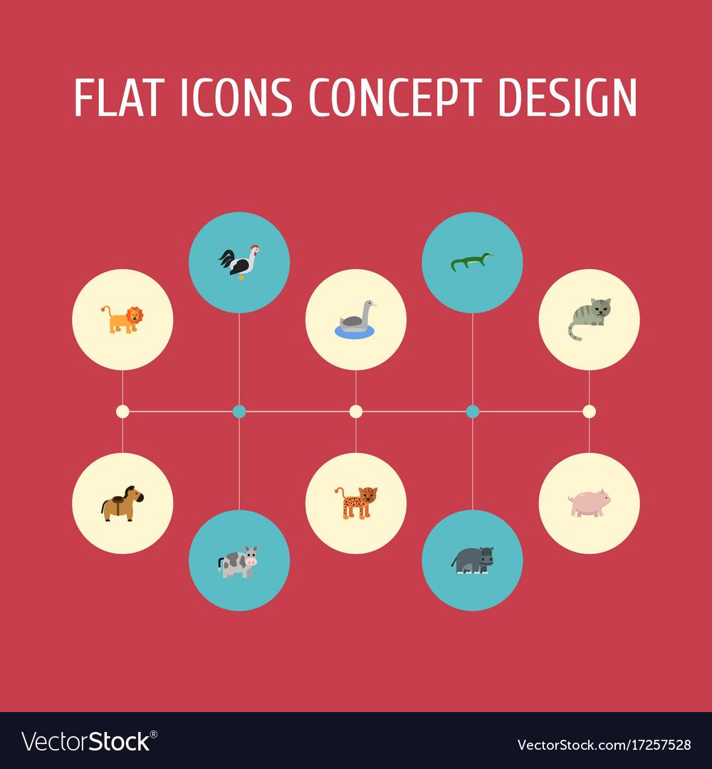 Flat icons swine hippopotamus kine and other vector image