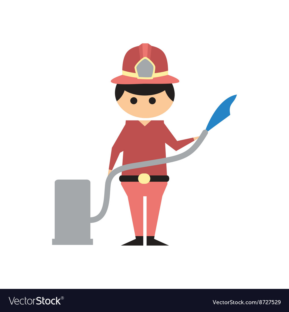 Flat web icon on white background Man firefighter