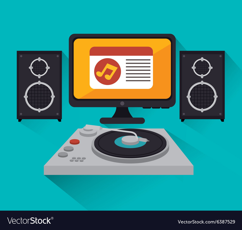 Music dj party theme vector image