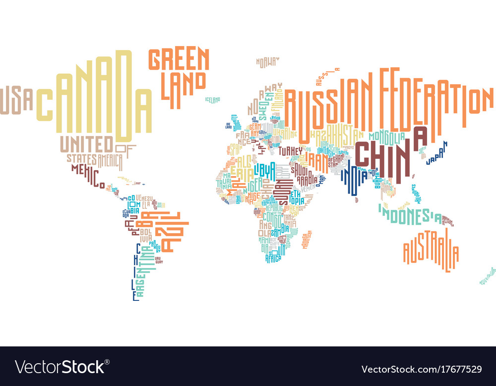World map made of typographic country names vector image gumiabroncs Choice Image