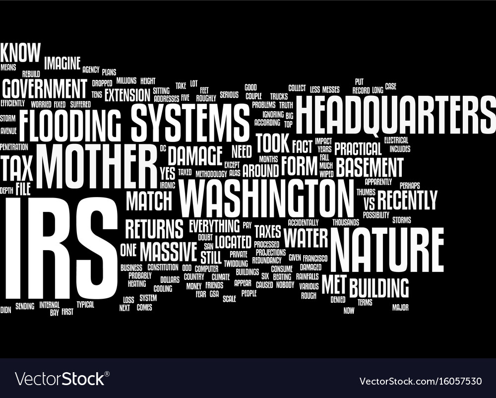 The irs vs mother nature text background word vector image