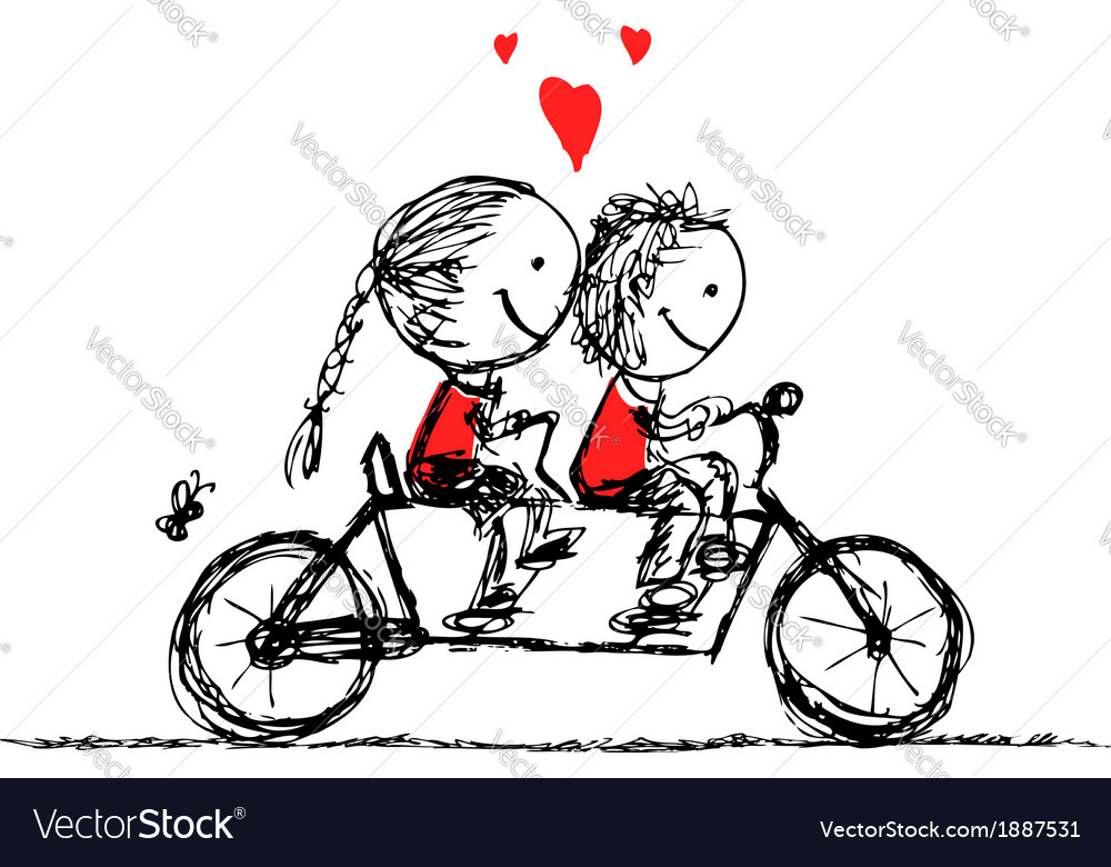 Couple cycling together valentine sketch for your vector image