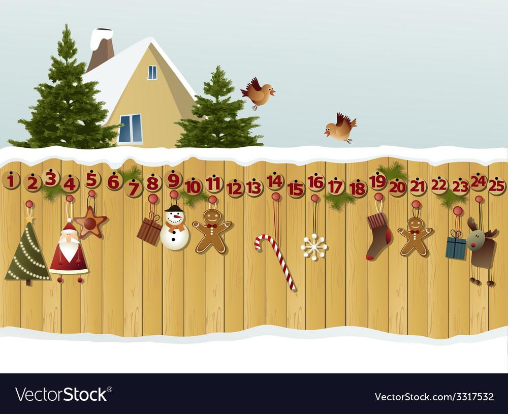 Advent calendar on fence vector image
