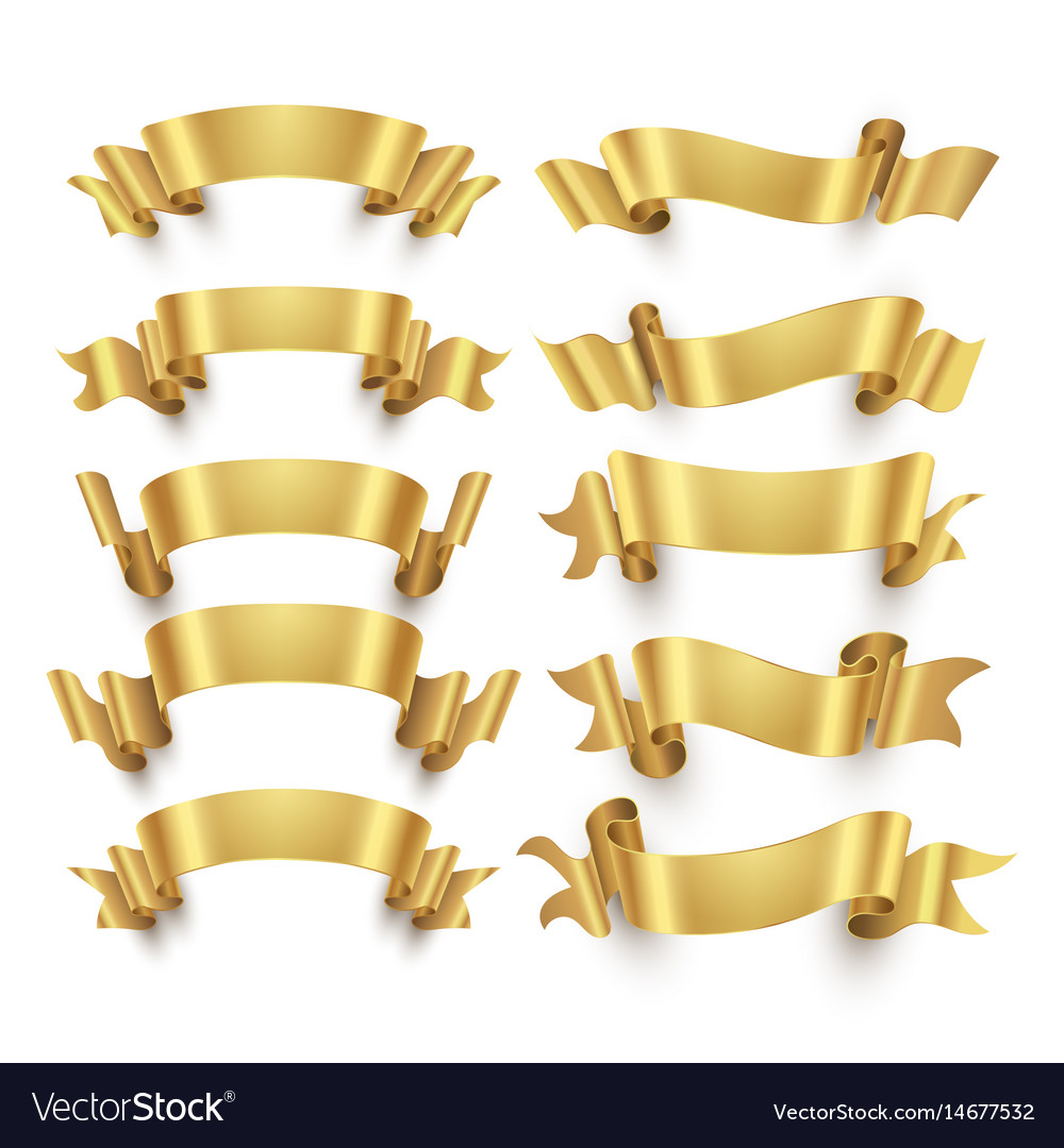 Golden ribbons and gold award banners set vector image