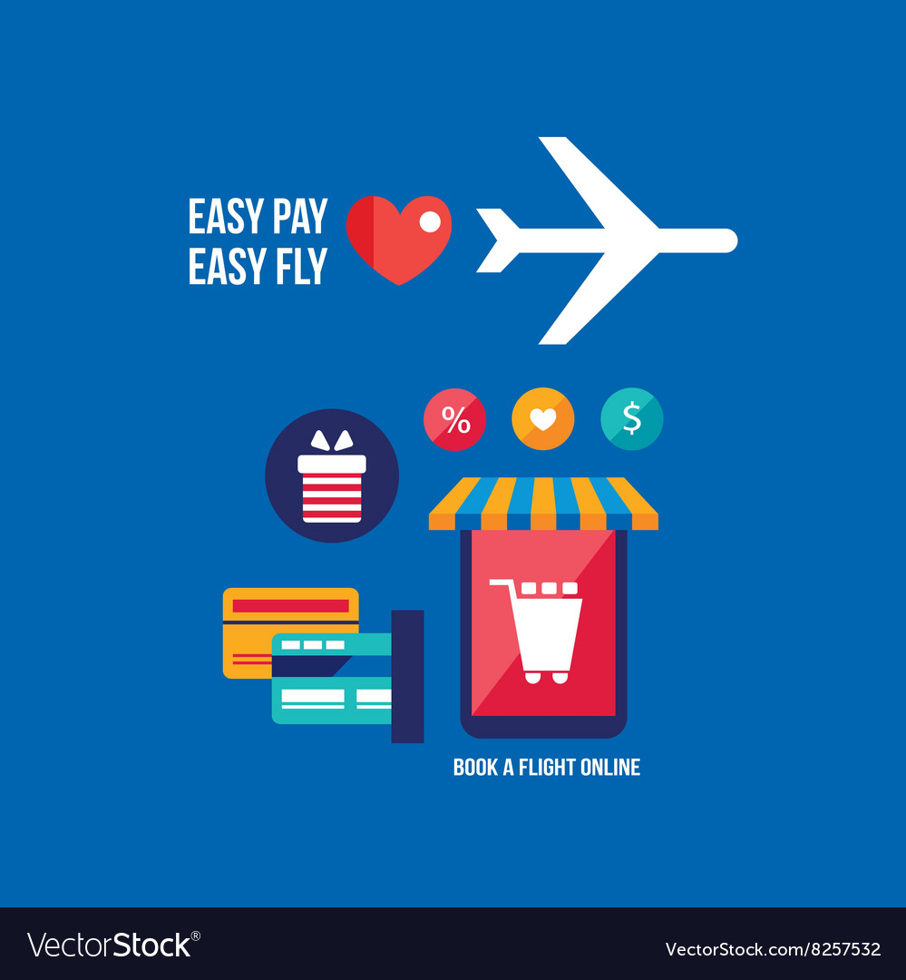 Online tickets booking Mobile payment Travel vector image