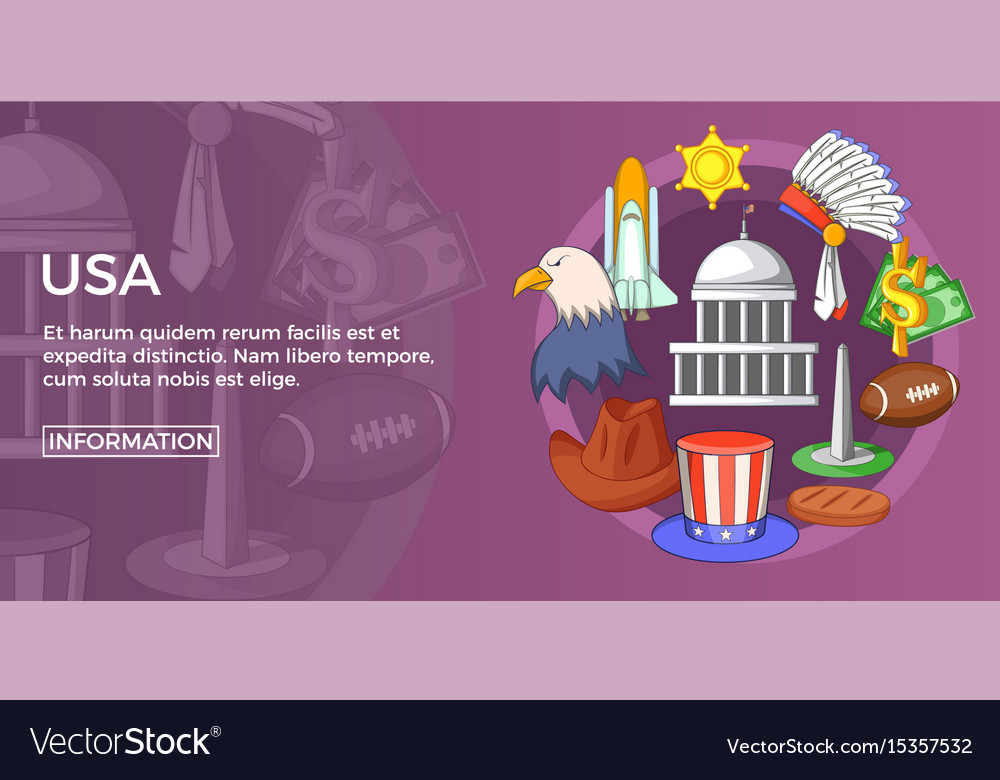 Usa travel banner horizontal cartoon style vector image