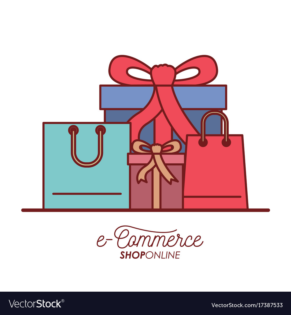 E-commerce shop online set gift and shopping bag vector image