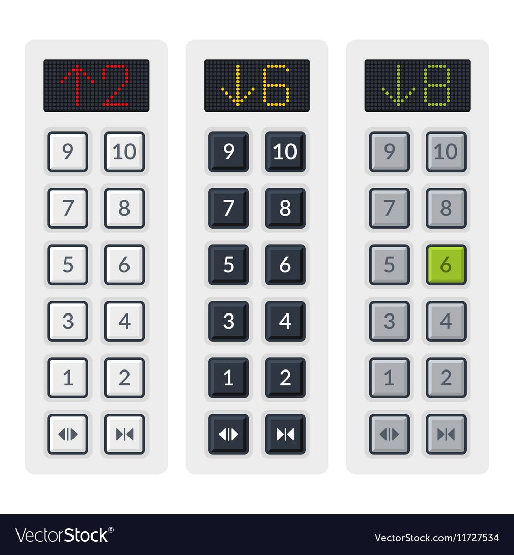 Steel Elevator Buttons Panel Set vector image