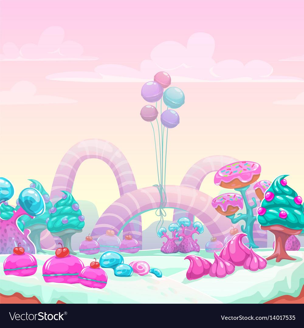 Beautiful fantasy sweet world background vector image