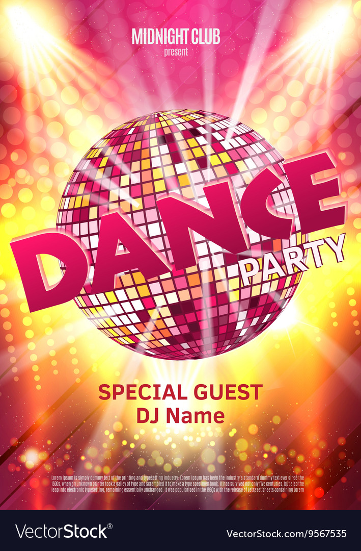 Dance Party Poster Background Template - vector image