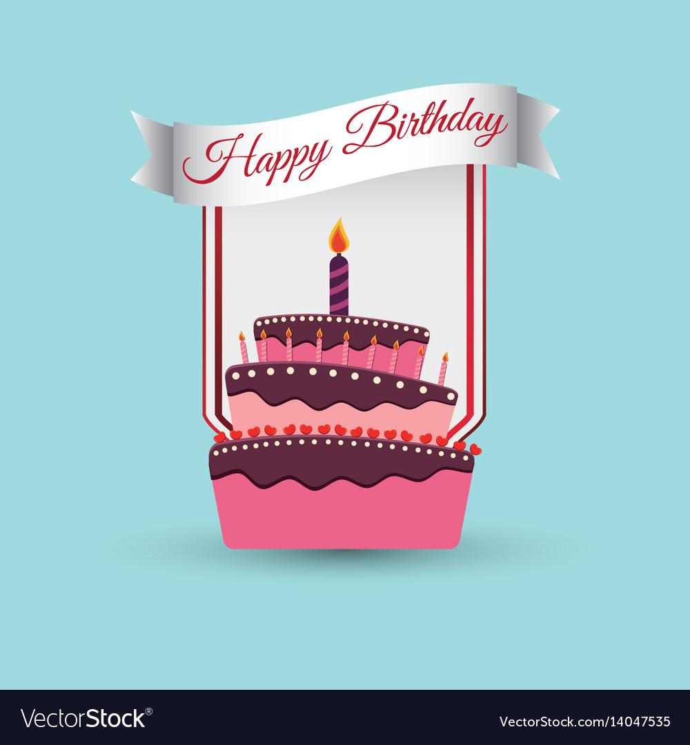 Happy Birthday Cake Decoration Poster Royalty Free Vector