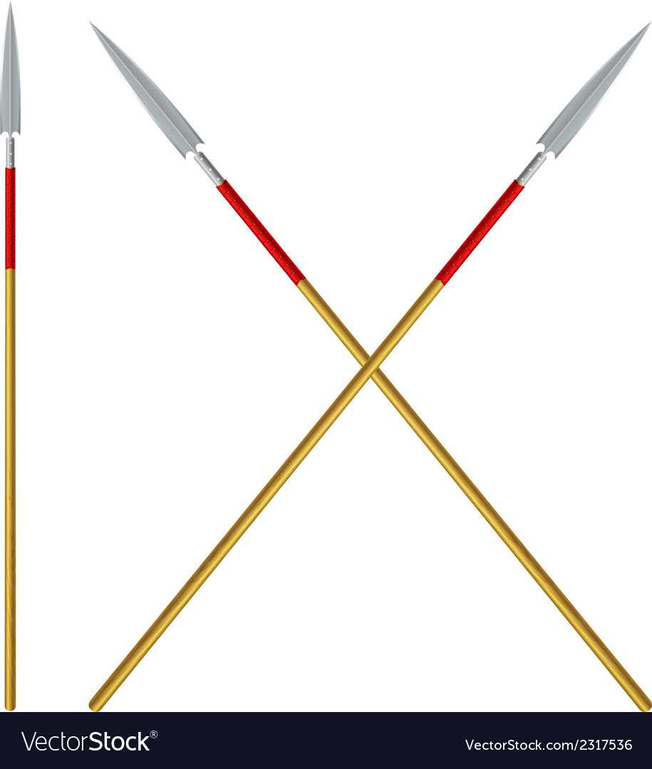 Crossed spears with red ribbon on a shaft vector image