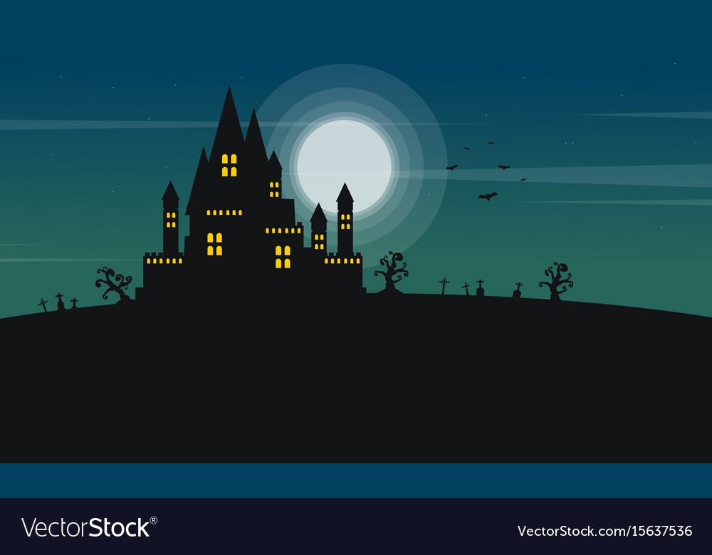 Silhouette of castle and moon halloween landscape vector image