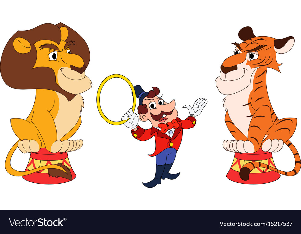 Handler with lion and tiger vector image