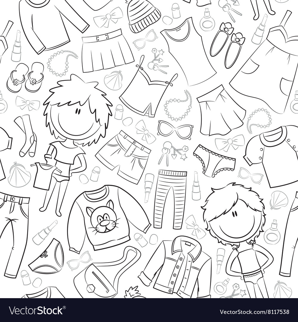 Modern casual girls clothes and accessories vector image