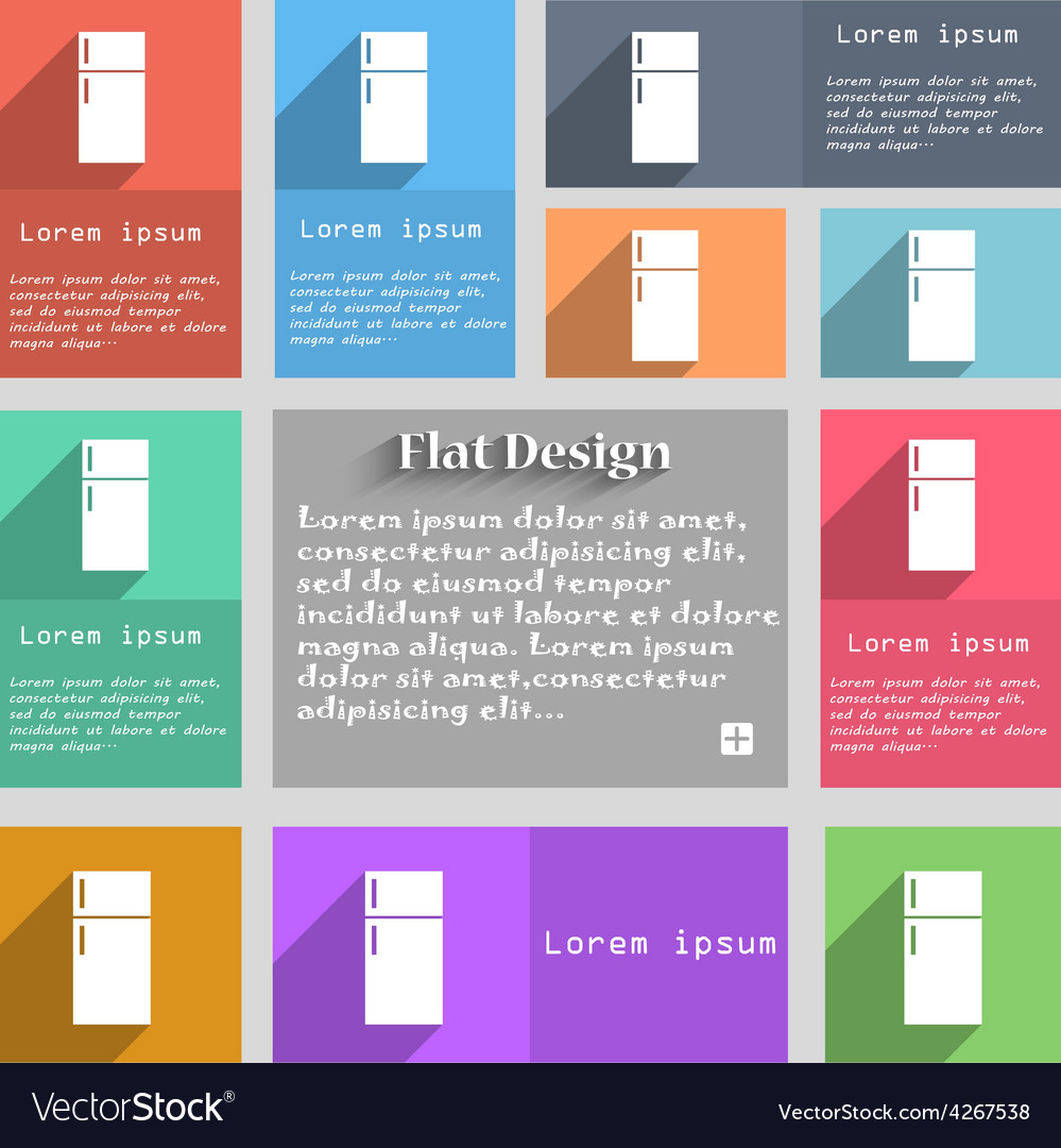 Refrigerator icon sign Set of multicolored buttons vector image