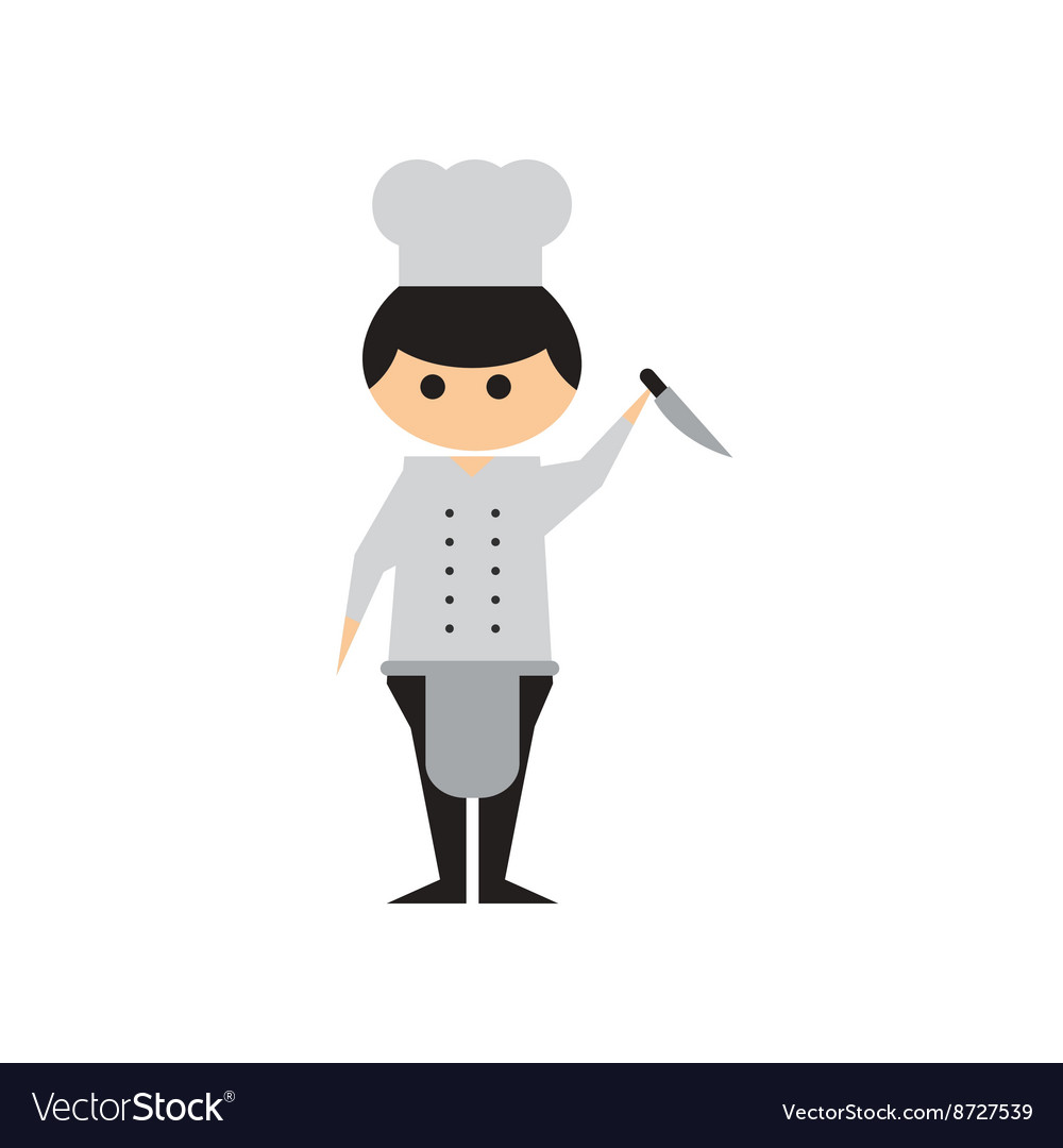 Flat web icon on white background Man cook