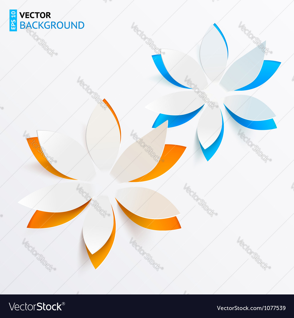 Greeting card background with paper flowers vector image