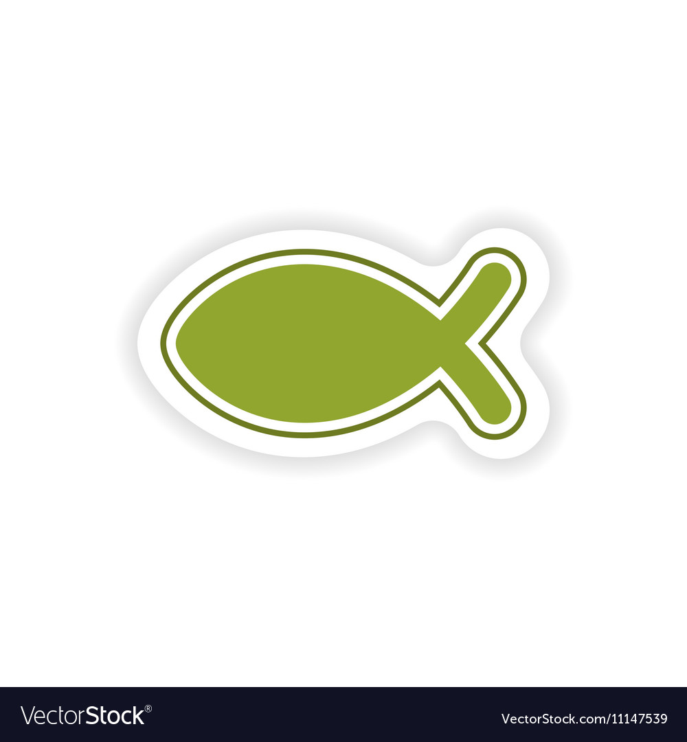 Paper sticker on white background Christian fish