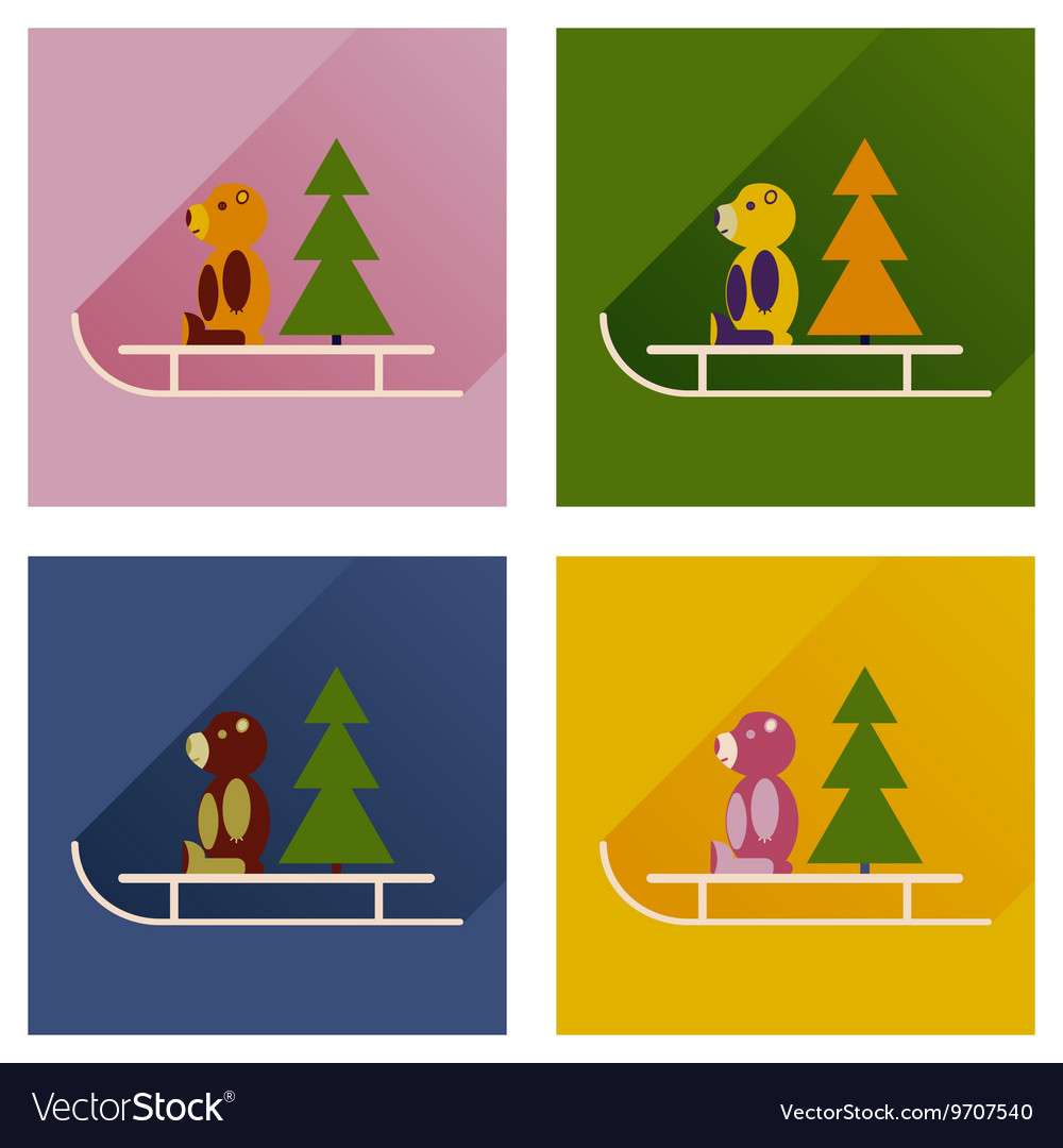 Set of flat icons with long shadow sled bear